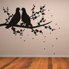 Doves On A Branch Wall Sticker Bird Wall Decal Art Available In 5 Sizes And 25 Colours Large Basalt Grey Amazon Nature Wall Art Bird Wall Art Wall Art Designs