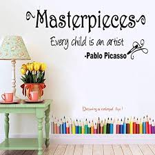 Amazon Com Vinyl Decal Masterpieces Every Child Is An Artist Pablo Picasso Inspirational Home Decor Home Kitchen