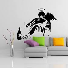 Amazon Com 55 X 45 Banksy Vinyl Wall Decal Giant Fallen Angel With Rome Bottle Street Graffiti Art Canvas Decor Sticker Free Random Decal Gift Kitchen Dining