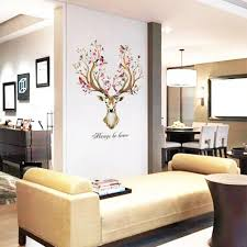 Vova Diy Sika Deer Head Flowers Wall Stickers For Living Room Art Vinyl Wall Decals For Kids Baby Home Decor