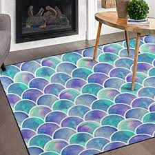 Amazon Com Naanle Watercolor Rainbow Mermaid Scale Non Slip Area Rug For Living Dinning Room Bedroom Kitchen 5 X 7 58 X 80 Inches Colorful Nursery Rug Floor Carpet Yoga Mat Furniture Decor