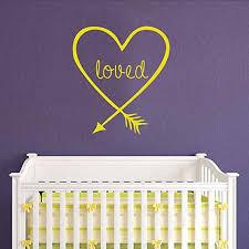 Love Arrow Wall Decal Dark Brown 16 H X14 W Heart Arrow Decor Loved Arrow Wall Art Sticker Baby Crib D Cor Battoo Nursery Love Arrow Decal