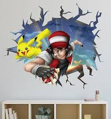Anime Broken Wall Decal Red Team 3d Cracked Hole Vinyl Art Design Home Decor 643 Ebay