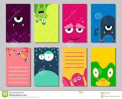 Sistema De Tarjetas Divertido Colorido Con Los Monstruos Lindos