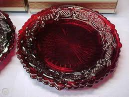 ruby red glass salad dessert plates 7