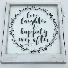 love and laughter quotes vintage window art unique home decor