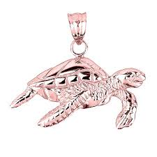 14k solid rose gold sea turtle charm