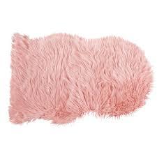 pink faux fur sheep rug 90x60 blush