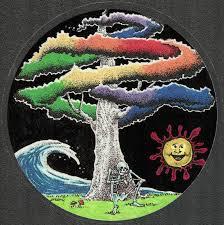 Grateful Dead Car Window Tour Sticker Decal Skeleton Smoking A Joint Under A Rainbow Tree