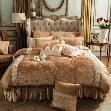 brown gold fleece warm bedding set soft