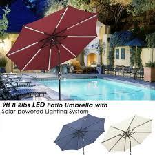 mosaic 9 ft solar light umbrella patio