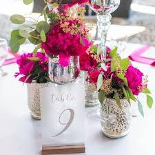 sea glass table numbers frosted table