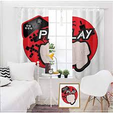 Gamer Baby Kids Room Blackout Drape Curtain Gaming Illustration With Play Quote And Pointing Finger Abstract Squares Design Living Decorate Home Shading Cloth Cream Black Red W104 X L63 Inch Educational
