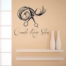 Shop Custom Name Beauty Hair Salon Lettering Scissors Art Fashion Girl Vinyl Sticker Interior Sticker Decal Size 33x33 Color Black Overstock 14751144