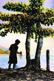 Boy with fish Painting by Byron Bailey