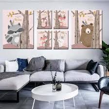 Shop Nordic Cute Animal Canvas Wall Painting Kids Room Kindergarten Bedroom Decor Online From Best Arts Crafts On Jd Com Global Site Joybuy Com
