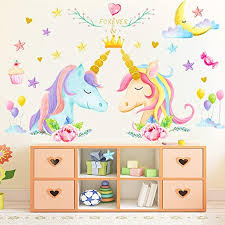 Amazon Com Princess Unicorn Wall Stickers Gifts For Boys Girls Wall Decals With Lovely Stars Birthday Kids Bedroom Decor Nursery 3pcs Kitchen Dining