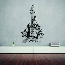 Shop Style And Apply Rock N Roll Guitar Black Vinyl Removable Wall Decal Overstock 11964213