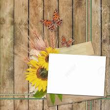 Tarjeta De Invitacion O Felicitacion Con Girasoles Y Mariposa