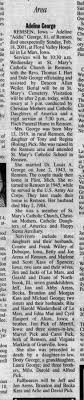 Adeline Pick George obit - 02-20-2001 - Sioux city Journal IA -  Newspapers.com