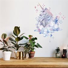 1 Piece New Cute Cartoon Dream Magic Unicorn Bling Stars Wall Decal Art Stickers Vinyl Home Room Decors Wish
