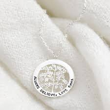 silver family tree disc necklace