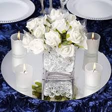 round glass mirror wedding party table