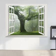 Green Old Forest Tree 3d Window View Wall Decal A Big Tree Sticker Wall Decoration Living Room Wall Sticker Home Diy Decal Wall Decal Deals Wall Decal Decor From Fullhouse517 2 98 Dhgate Com