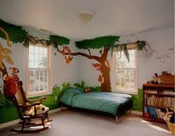 Not Much Going On Except On The Walls Kids Interior Room Themed Kids Room Jungle Bedroom Theme