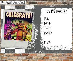 Five Nights At Freddy S Invitations And Por Hawthorneprintables