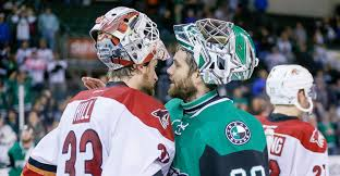 Goaltenders Adin Hill of the Tucson Roadrunners and Mike McKenna of the  Texas Stars - May 12, 2018 Photo on OurSports Central