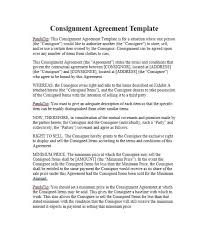 free consignment agreement templates