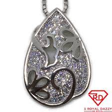 cubic zirconia teardrop pendant white