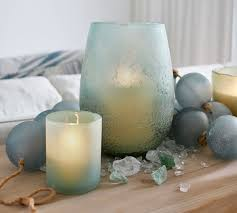 frosted glass votive holder sea glass