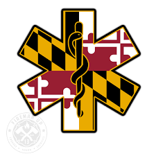 Maryland Flag Ems Star Of Life 4 Sticker Fireman Up