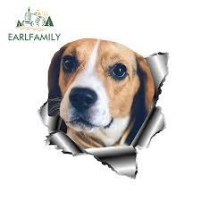 Earlfamily 13cm X 12 1cm 3d Beagle Car Sticker Torn Metal Pet Dog Decal Reflective Stickers Waterproof Car Styling Accessories Car Stickers Aliexpress