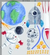 Kids Watercolor Space With Astronaut And Earth Wall Decal Sticker Wall Decals Wallmur