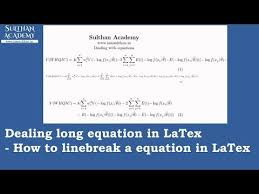how to linebreak a equation in latex