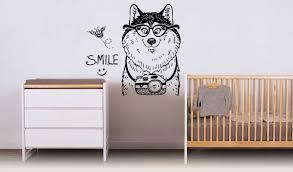 Wall Vinyl Sticker Decals Mural Room Design Pattern Art Decor Huskies Dog Puppy Pet Animal Camera Smile Nursery Mi549 Pet Supplies B072c2t1d2