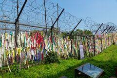 Prayer Ribbons Tied To The Fence Left By Visitors Wishing Peace And Unification For North And South Korea At The Freedom Bridge Editorial Photography Image Of 38thparallel Flag 188395917