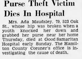 Ada Cooper Maudsley's cause of death - Newspapers.com