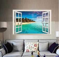 China 3d Sea Fake Window Wall Sticker Home Decoration China Wallpaper And Home Decoration Price