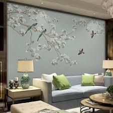 Oriental Plum Blossom Magnolia Oiseaux Wallpaper Murales Etsy Wall Wallpaper Home Decor Wall Murals