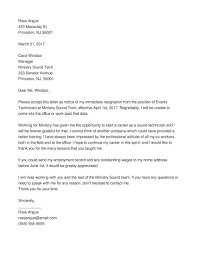 standard resignation letter exles