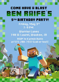 Minecraft Party Invitations Invitaciones De Minecraft