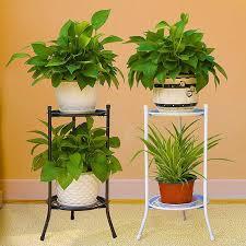 2 tier metal plant stand shelf black