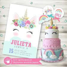 Kit Imprimible Unicornio Pastel