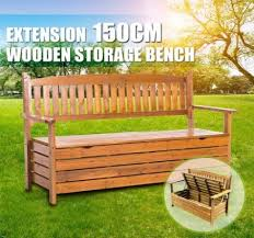 wooden outdoor garden storage bench