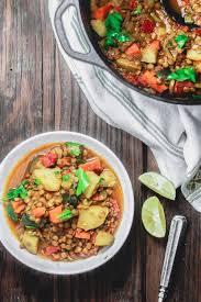 chunky vegan lentil soup the
