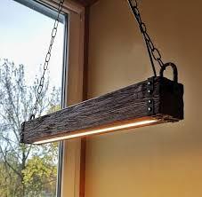 wood beam led pendant light chandelier